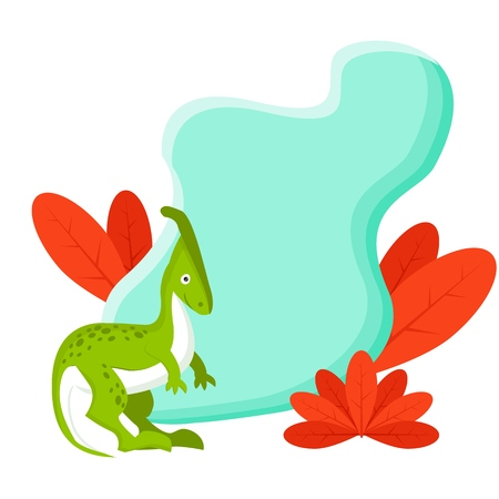 Adorable little dinosaur vector illustration for kids fashion, funny dino in cartoon style. Ideal for cards, invitations, party, banners, kindergarten, baby shower, preschool and children room decoration. Illustration