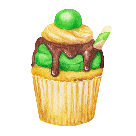 Watercolor cupcake, fairy cake isolated on a white background. Sweet delicious hand drawn bakery illustration.