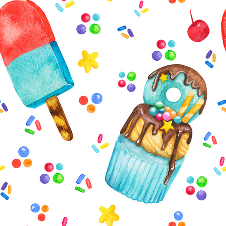 Watercolor cupcake, sweets and ice cream seamless pattern, fairy cake isolated on a white background. Sweet delicious hand drawn bakery illustration Stock Photo