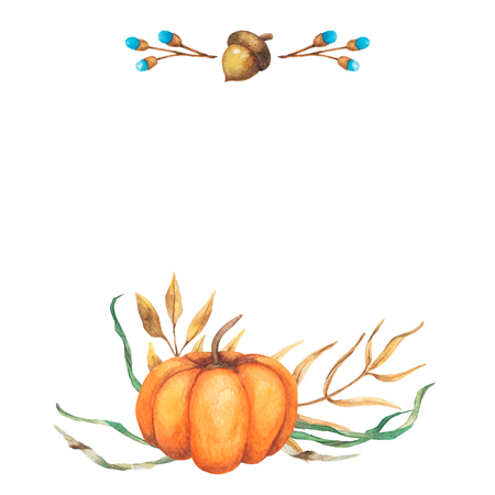Watercolor background autumn design with pumpkin motley foliage celebration harvesting. Hand-drawn watercolor illustration 스톡 콘텐츠