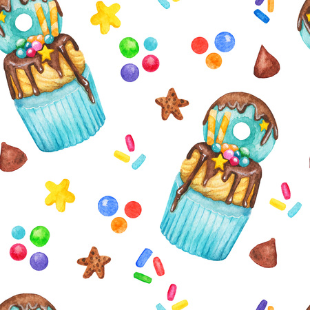 Watercolor cupcake sweets seamless pattern, fairy cake isolated on a white background. Sweet delicious hand drawn bakery illustration