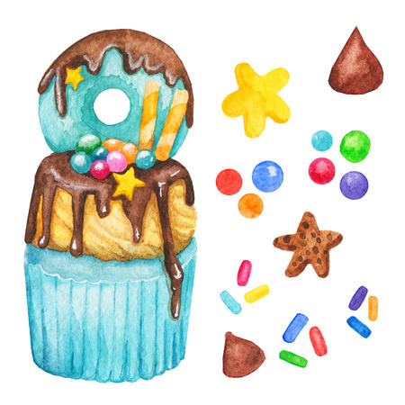Watercolor cupcake, fairy cake isolated on a white background. Sweet delicious hand drawn bakery illustration