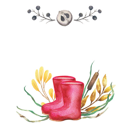 Watercolor background autumn design with red rubber boot, motley foliage isolated on white background,. Hand-drawn watercolor illustration