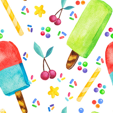 Watercolor cupcake, sweets and ice cream seamless pattern, fairy cake isolated on a white background. Sweet delicious hand drawn bakery illustration.