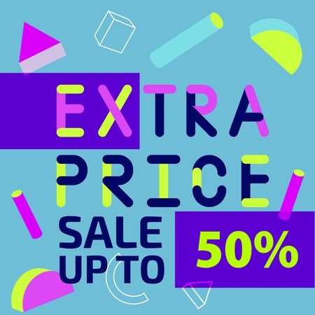 Abstract trendy illustration background media sale post, placard,flat style advertising campaign design elements. Easy customizing art for covers, banners, flyers and posters. vector Иллюстрация