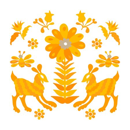 Vector folk Mexican Otomi Style embroidery Pattern set. Folk embroidery ornament elements Иллюстрация