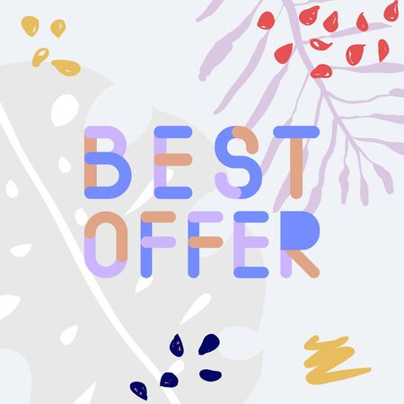 Abstract trendy illustration background media sale post, placard,flat style advertising campaign design elements. Easy customizing art for covers Banque d'images - 129657678