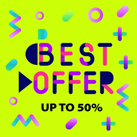 Abstract trendy illustration background media sale post, placard,flat style advertising campaign design elements. Easy customizing art for covers Иллюстрация