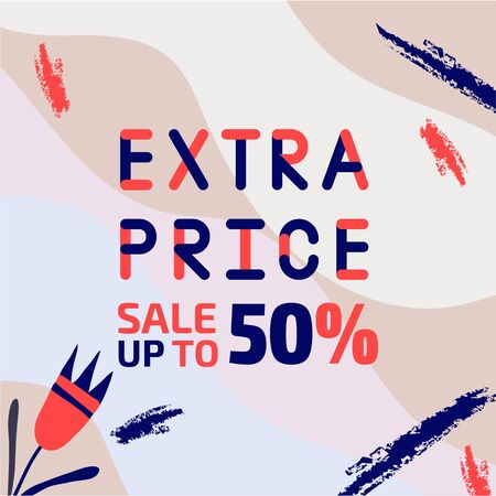 Abstract trendy illustration background media sale post, placard,flat style advertising campaign design elements. Easy customizing art for covers Stock Illustratie