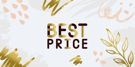 Abstract floral trendy illustration background media sale post, placard, advertising campaign design elements. Easy customizing art for covers. Gold nude pastel colors