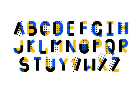 Modern fancy pop art geometry font alphabet. Handwritten font letters. Hand lettering font for your design: slogan, decor postcard, greeting, motivation quotes, message Иллюстрация