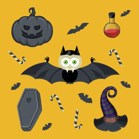 Halloween Set. Dracula, sweets, pumpkin, witch hat, coffin and grave.