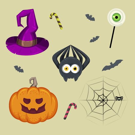 Halloween Set. Spiders, sweets, pumpkin, witch hat and bats.