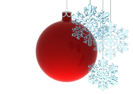 3D render of a Christmas globe and snowflakes Stock Photo