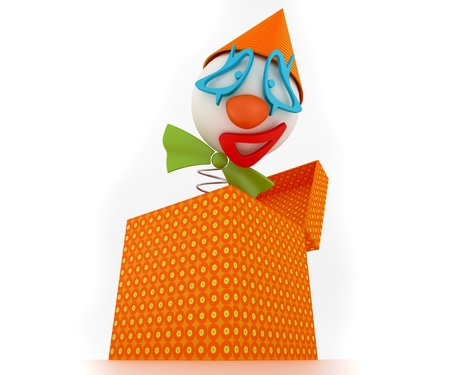 clown head jumping from a gift box, front view photo