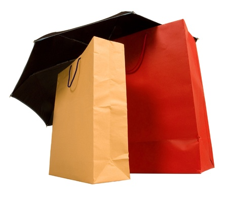 shopping bags under an umbrella
