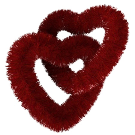 3d render of two fluffy red hearts united Stock Photo