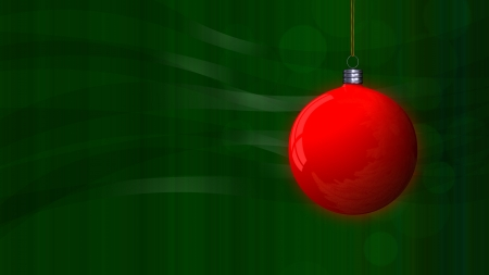 green Christmas background with a red globe Stock Photo