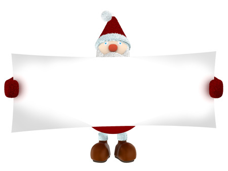 3D Santa Claus holding a big white paper isolated on white