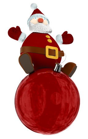 3D Santa Claus standing on top of a big red Christmas globe Stock Photo