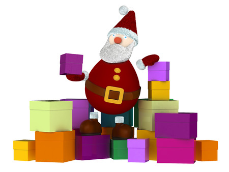 3D Santa Claus sitting on a stack of colored gift boxes and holding a small present box isolated on white