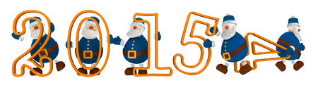 going away: 3D render with year 2015 with digits held by cartoony old men dressed in blue