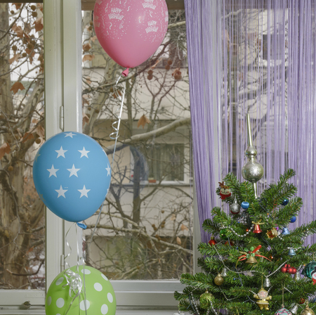 Winter birthday! Christmas tree with balloons beside it. purple balloon, it is written Happy birthday. Through the window, one can see naked branches of the Platanus tree and part of a building.