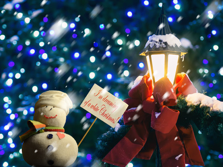 "Snowman figure holding a placard board with stick attached, with the text ""I'm dreaming of a white Christmas!"" written on it. A street lantern wrapped in a red ribbon and fir branches. It is snowing."