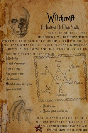 Fake witchcraft document. Symbols, terms relating to magic, spells, alchemy. Drawings of human skull, bat's wing, the Seal of Solomon, planetary signs, pentagram. Elder Futhark and Anglo-Saxon runes. Imagens