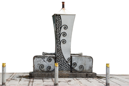 Public artesian well from Becej (a small town and municipality in the Autonomous Province of Vojvodina, the region of Serbia) isolated on white background.