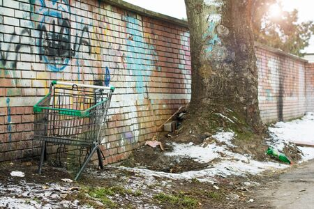 Rejected shopping cart without wheels standing by a wall and a tree on a cold, sunny winter day.