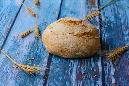 Round bread prepared from wheat and rye flour on a blue rustic background. Wheat ears, with spikelets, awns and grains, are spread around the bread.