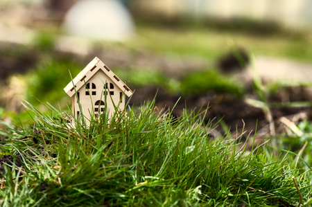 Toy house in the green grass. Symbol of happiness, family and peace