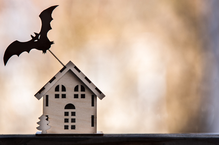 Toy house with a bat, Background for halloween, autumn, loneliness, threat