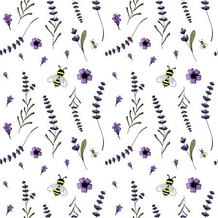 Seamless pattern, lavender theme of Provence illustration.