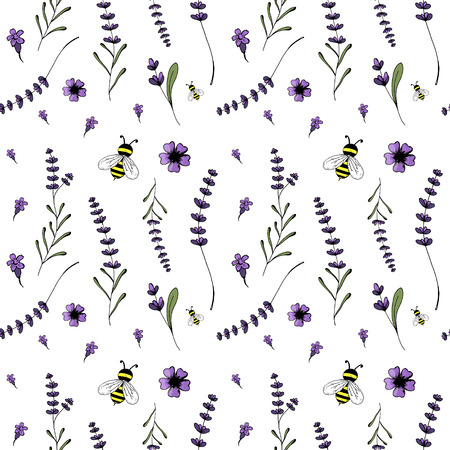 Seamless pattern, lavender theme of Provence illustration.