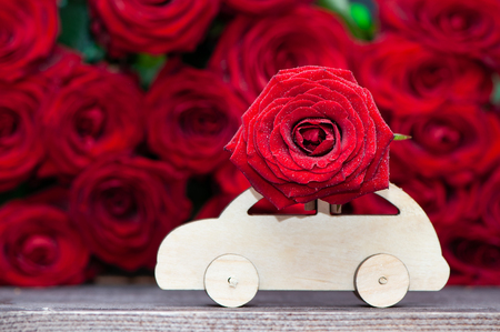Concept Valentine day, love, machine transports a flower on the background of red roses. Stylish love concept, space for text. Stockfoto - 116233770