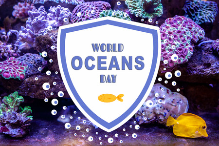 World Oceans Day. Photo and illustration with the inscription. Underwater coral reef landscape background in the deep lilac ocean