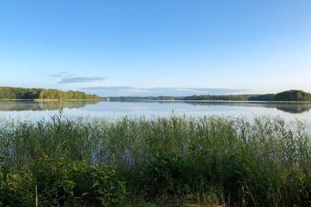 View of the beautiful lake , in the foreground overgrown with grass . The climate of Northern Europe