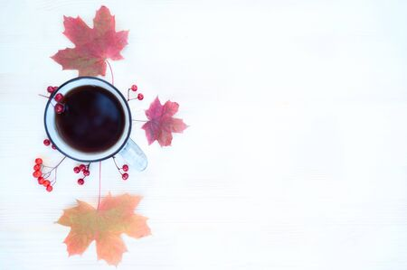 Background on the theme of autumn. Cozy background with maple leaves ,  red berries  and a cup of tea with copy space. Top view, flat lay