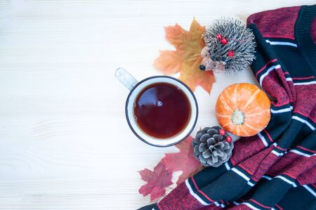 Background on the theme of autumn. Cozy background with a sweater  pumpkins  and a cup of tea with copy space. Top view, flat lay