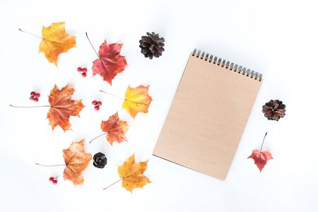 Autumn composition with empty craft notebook and autumn leaves on a white background, flat lay