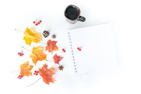 Autumn composition with empty notebook and autumn leaves on a white background, flat lay