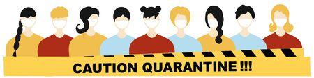Quarantine Coronavirus Pandemic concept sign. People in white medical face mask, stop Covid-19, 2019-nCoV Novel Coronavirus