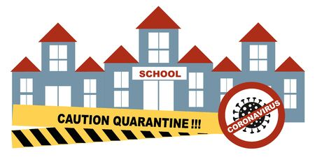 Coronavirus, Closing school, quarantine concept, coronavirus concept Novel coronavirus 2019-nCoV, covid-19, school building with the sign is closed isolated vector