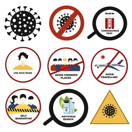 Coronavirus Pandemic sign set. Stop, quarantine, seaching antivirus Covid-19 , test, 2019-nCoV Novel Coronavirus , Cancellation of flights , face mask sign