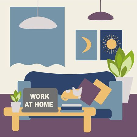 Coronavirus work at home concept, freelance and telecommuting subject. Image of the room equipped for online work and the inscription - work at home. Closing offices, factories and industries,  quarantine coronavirus  2019-nCoV, covid-19