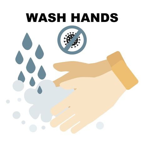 Coronavirus, covid-19  wash hands concept. Man washes his hands thoroughly with detergent, crossed out the sign of the coronovirus.