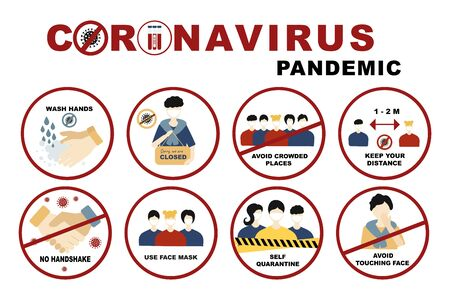 Coronavirus, covid-19 sign set No handshake and wash hands, Self quarantine and avoid crowded places, use face mask and  keep distance concept. Signs with people on the subject coronavirus Illustration