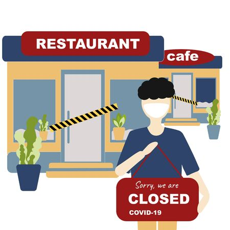 Vector Closing cafe, resteurant and everyone to quarantine Coronavirus concept. Cafe, restaurant with plate closed, coronavirus sign. Coronavirus concept Novel coronavirus 2019-nCoV, covid-19